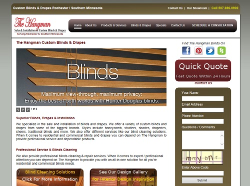 Thumbshot of the Hangman Blinds website we designed.