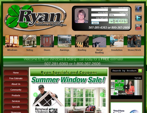 Thumbshot of Ryan Windows and Siding website